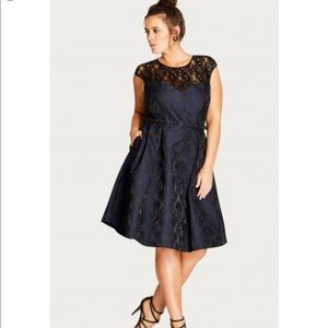City Chic Ornate Brocade fit & flare dress NWT